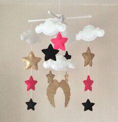 Mobile - bébé Bébé fille mobile mobiles - - lit mobile - Star Mobile nuage - pépinière Decor - nuages et étoiles et angel wings.