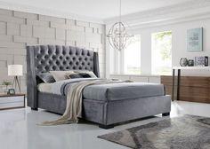 Brando Wing Back Chesterfield Double Bed Frame 4FT6 135cm Grey Velvet Fabric  | eBay