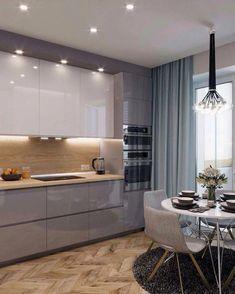 inspiring modern contemporary kitchen design ideas 58 - Home sweet home - Kitchen Room Design, Kitchen Cabinet Colors, Kitchen Layout, Home Decor Kitchen, Interior Design Kitchen, Home Design, Kitchen Furniture, Kitchen Ideas, Design Ideas