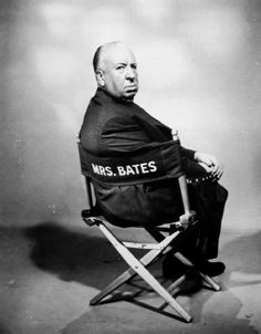 """Alfred Hitchcock had a vacant cast chair marked """"Mrs. Bates"""" placed eerily on the set of his 1960 """"Psycho"""" throughout shooting, and even falsely reported to the press that he was auditioning for the role of Mrs. Bates to further add to the mystery around the film.– Image by © Sunset Boulevard/Corbis"""