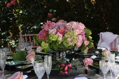 Table top and flowers designed by Wayne Gurnick, LA wedding planner and owner of Moments by Wayne.  Inspiration in Pink photo shoot