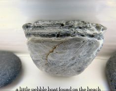 CAROLYN SAXBY - a little pebble boat found on the beach - window sill art - still life - collections - gatherings Carolyn Saxby, St Ives Cornwall, Beast From The East, Pretty Beach, Wood Burner, Holly Leaf, Art Archive, How To Make Tea, Textile Artists