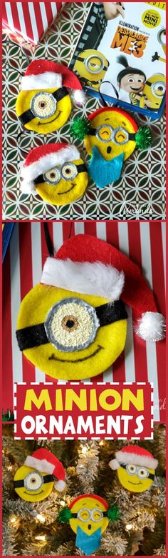 How to make adorable Minion Ornaments for Christmas! #ad Make these and then watch the #DespicableMe3 movie on Blu-ray - in stores December 5! #DM3family