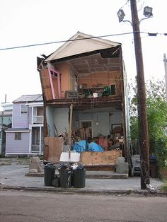 New Orleans after Hurricane Katrina: Uptown house with wall blown off.
