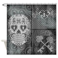 Shower Curtain Sugar Skull  Gray Day Skeleton Keys by FolkandFunky