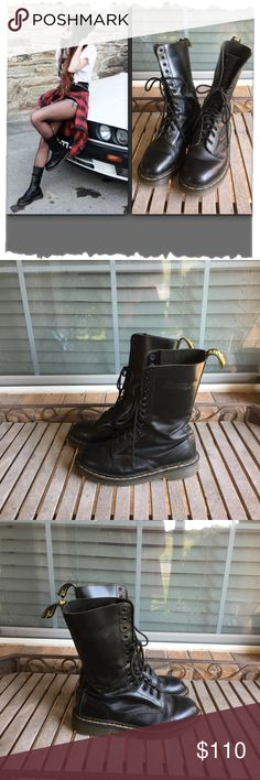 """Original Dr Martens Black 1914 14 Eyelet Lace Boot Original Dr. Martens Black 1914 14 Eyelet Lace Boot. Great shape! Couple of scuff marks. 1914 is the original 14 eyelet boot from Dr Martens in black smooth leather. Hard wearing durable and on the original Dr Martens air cushion sole. 1""""heel. Shaft comes up to mid calf. Grunge, work, goth, punk, rocker. Size has worn off on the inside but it measures 10.5"""" which equals to size 10-10.5 Dr. Martens Shoes Ankle Boots & Booties"""