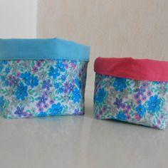 Paniers de rangement réversibles en tissu fleuri