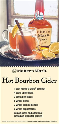 Holiday Recipes Warm apple cider, fragrant mulling spices and Maker's Mark® make this the perfect cold-weather cocktail. It's also great for warming u. Liquor Drinks, Cocktail Drinks, Alcoholic Drinks, Bourbon Drinks, Beverage, Cocktail Ideas, Christmas Cocktails, Holiday Cocktails, Holiday Parties