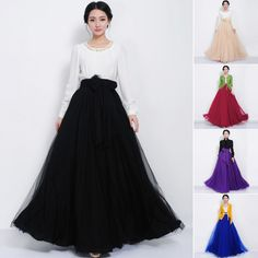 Women Elastic High Waist Bowknot Long Maxi Dress Pleated Multi-Layer Full Skirt