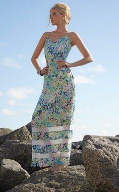 Lilly Pulitzer Deanna Spaghetti Strap Maxi Dress in Sea Soiree