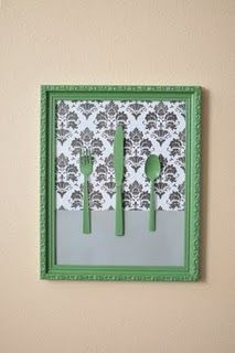 Cute Kitchen wall art! Find pretty old silverware at the thrift store!