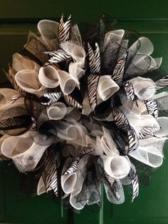 Black and white wreath zebra wreath black and by FunWithWreaths, $35.00