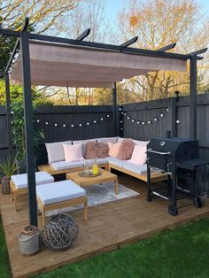 Gazebo, Pergola or Cabana? Which is the best choice for your backyard? Looking to add some shade and privacy to your backyard? Why not try a pergola, Backyard Seating, Backyard Patio Designs, Outdoor Seating Areas, Small Backyard Design, Landscaping Design, Small Backyard Landscaping, Fence Design, Deck Patio, Inexpensive Landscaping