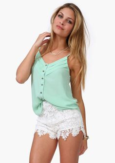Mint Tank Top // Lace Shorts