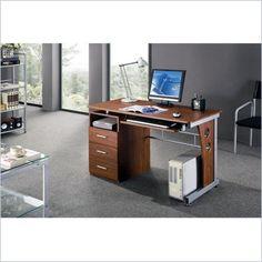 Techni Mobili Laminate Computer Desk in Mahogany
