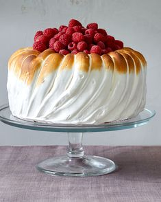 """Lemon Mousse Cake A light vanilla layer cake filled with bright, citrusy mousse is \""""frosted\"""" with toasted marshmallow-like meringue for a truly magnificent dessert. No Bake Desserts, Just Desserts, Delicious Desserts, Meringue Desserts, Baking Desserts, Baking Recipes, Cake Recipes, Dessert Recipes, Dessert Food"""