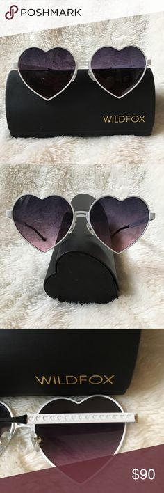 BRAND NEW!! Lolita Wildfox sunglasses White metal frames make these adorable sunnies pop! Take your heart off your sleeve and put it on your face in these on-trend stunners. Purple-blue ombré polarized leads and adorable heart stamped arm detail. Comes with heart shaped case, frames, and branded Wildfox cleaning cloth Wildfox Accessories Glasses