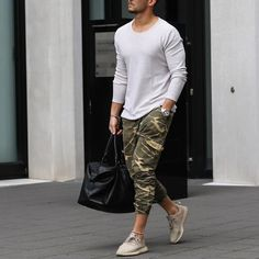 White long sleeve, camouflage jogger and #yeezy sneaker