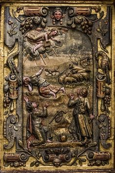 Joulu. Paimenten ilmestys, Juan de Durana ja Alonso de Remesal, 1586, Nuestra Seoñra de la Majestad reliefi. Zamoran katedraali, Zamora, Espanja. Valokuva: Marco Peretto.