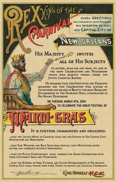 Vintage Mardi-gras poster from days of old makes you appreciate the heritage in the celebration