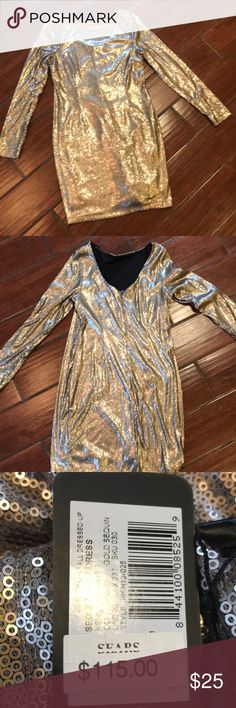67a619ed3e8 Gold sequined cocktail Dress Great for New Years or Vegas. Never worn tags  still on.