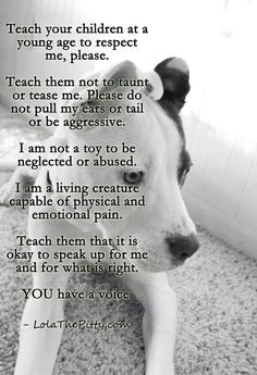 Teach your children to respect me, not to taunt or tease me.  I am not a toy to be neglected or abused.  I am a living creature. Speak up for me. Please share.