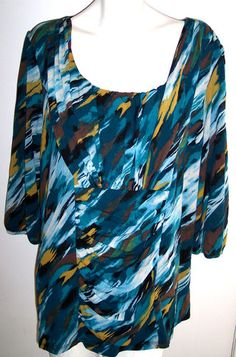 Style & Co Plus Size 3X Top Double Layered Nylon Draped Ruched Bodice Knit Tunic