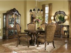 5pc Windsor Court Round Dining Room Table Set http://www.maxfurniture.com/dining/dining-sets/5pc-windsor-court-round-dining-room-set-by-aico.html #decor #furniture