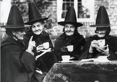 Vintage Witches Witch's Tea Party Victorian Witch Wiccan Sisters Witch Hats Halloween Spell Magic Spooky Wise Old Women Photography Photo Retro Halloween, Halloween Fotos, Holidays Halloween, Happy Halloween, Halloween Party, Halloween Witches, Halloween Pictures, Pictures Of Witches, Halloween Stuff