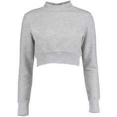 Bella High Neck Cropped Sweat (53 MXN) ❤ liked on Polyvore featuring tops, hoodies, sweatshirts, crop top, white sweatshirt, white top, cropped sweatshirt and high neck crop top