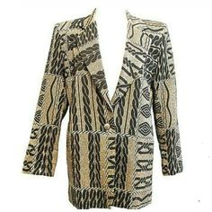 2d013e3276e5b4 Womens Vtg 80s Disco Jacket Sz S Black Metallic Gold Single Button Retro  Blazer #vintage