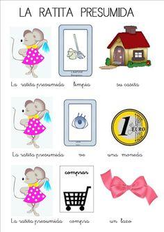 cuentos infantiles con pictogramas la ratita presumida Elementary Spanish, Teaching Spanish, Spring Activities, Preschool Activities, Movie Talk, Picture Boards, Dual Language, Teacher Style, 4 Kids