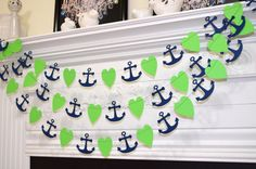 Lime Green heart and navy blue anchors, nautical garland wedding decorations, beach theme bridal shower, nautical baby room decor