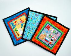 Quilted Potholders Mug Rugs Cities of the World by MonkeyMuffin