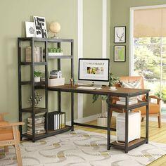 L-Shape Writing Desk with Hutch & Cabinet Home Office Computer Desk Workstation Gaming Desk With Hutch, Computer Desk With Hutch, Desk Hutch, Desk Shelves, Storage Shelves, Computer Desks, Display Shelves, Bookcase, Desks Ikea
