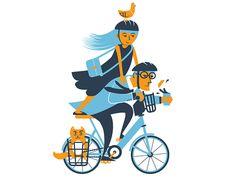 Bike to work day! bikeshare, bike, cat, pigeaon, coffee, philadelphia,  illustration,  phldesign, james olstein, jamesolstein