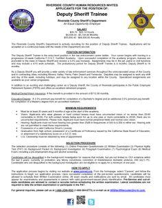 18 best sheriffs dept riverside county images on pinterest deputy sheriff trainee job openings altavistaventures Image collections