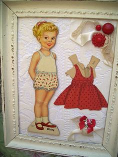 Vintage framed paper dolls. I used to love these when I was a child!