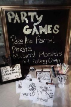 Haunted House Party - like the sign: the witch-craft table