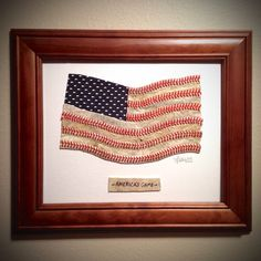 Baseball American Flag Original Artwork - Made from Actual Used Baseballs, the Perfect Graduation or Father's Day Gift