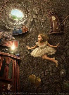 Alice in Wonderland down the rabbit hole