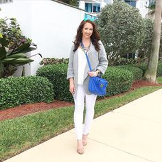 All neutrals with a pop of blue for this gorgeous day!   ...... @liketoknow.it www.liketk.it/28twM #liketkit
