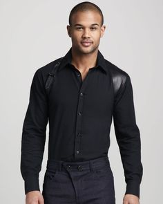 Alexander Mcqueen Leather Trim Harness Shirt in Black for Men | Lyst