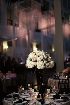 Beautiful Blooms Alison Conklin Curtis Center Pink and Black Wedding Hydrangea Roses Black Crystals Black Vases Pink Lighting
