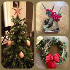 Egg ornaments, glitter ice skates, handmade Christmas wreath - made with some quail feathers to tie them all together!