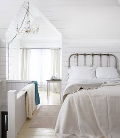 Beautiful whitewashed attic #bedroom.