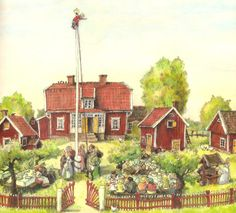 by Marit Törnqvist Emil i Lönneberga (Astrid Lindgren) Swedish Style, Scandinavian Style, Children's Book Illustration, Childrens Books, Dream Catcher, Fairy Tales, Inspiration, Landscape, Drawings