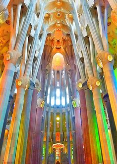 Sagrada Família, Barcelona, Spain — by Karla Mendoza Voigt - Sagrada Família, Barcelona, Spain – The Basilica and Expiatory Church of the Holy Family is a la - Barcelona Spain Travel, Barcelona Catalonia, Amazing Architecture, Architecture Art, Antonio Gaudi, Beautiful Buildings, Modern Buildings, Monuments, Les Oeuvres