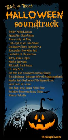 The perfect Halloween playlist for your trick or treat soundtrack or Halloween party!