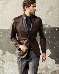 Leather statement pieces showcase your style with confidence. They work as outerwear or in place of a sport coat, like this jacket from Brunello Cucinelli. Try pairing them with tailored pants and tie for a a unique take on classic elegance.
